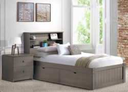 Innovations Newport bookcase platform bed in gray
