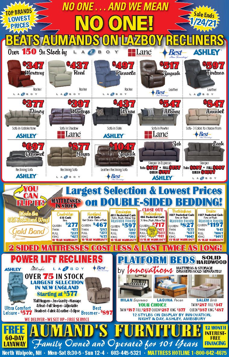 Aumand's January Furniture Sale Flyer